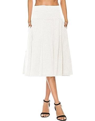 ba0f8f902df YiLiQi Women s High Waist Knitted Pleated Pocket Midi Skirt White-M