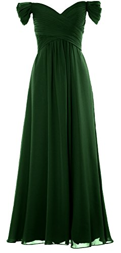 MACloth Women Off The Shoulder Long Prom Dress Chiffon Wedding Party Formal Gown (US6, Dark Green)