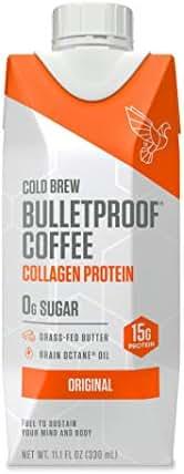 Bulletproof Original Cold Brew Coffee Plus Collagen Protein Peptides, Keto diet Friendly, Sugar Free, non-GMO, organic, with Brain Octane oil and Grass-fed Butter (Original+Collagen) (12-Pack)