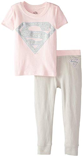 DC Comics Infant 'Superman Supergirl Glitter Logo' Cotton Costume Pajama Set, Multi, -