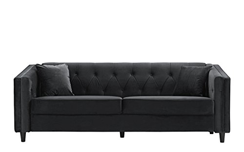 Classic Victorian Style Tufted Velvet Sofa, Living Room Couch with Tufted Buttons (Grey)
