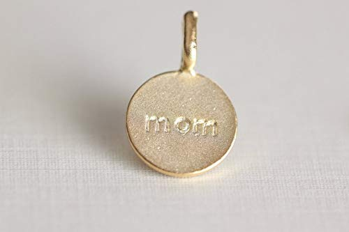 - Unique Selection Beads - Vermeil Mom Disc Charm with Loop - Gold Plated Over Sterling Silver, mom Stamped on 925 Silver