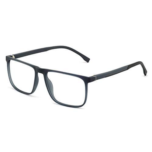 OCCI CHIARI Men Non Prescription Eyeglasses TR 90 Frame with Clear Lense Eyewear (Gray)