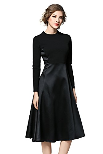 Women's Long Sleeves Patchwork-Design Swing A-line Casual Cocktail Midi Dress