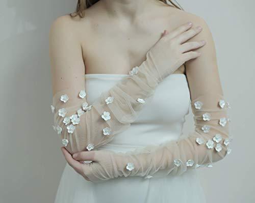 White Symphony Sheer Tulle Gloves | Vintage 90's wedding gloves | Handmade Tulle Gloves | Gloves With Floral Embellishments | Bridal Gloves