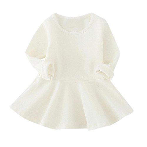 Omiky® Baby-Mädchen-Süßigkeit-Farben-Lange Hülsen-Feste Baumwollprinzessin-Beiläufiges Kleid Weiß