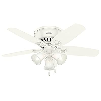 """Hunter 51090 42"""" Builder Low Profile Ceiling Fan with Light, Snow White"""
