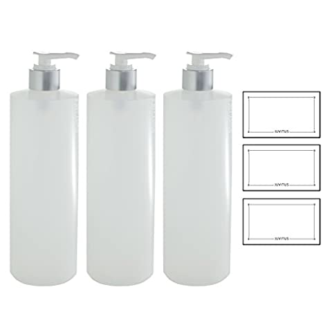 Clear Natural Refillable Plastic Squeeze Bottle with Silver Lotion Pump Dispenser - 16 oz (3 Pack) + (16 Oz Plastic Cylinder Bottles)