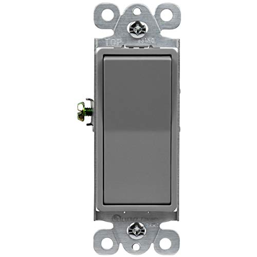 ENERLITES 3-Way Decorator Paddle Light Switch, Residential Grade, 15A 120V-277V, Grounding Screw, Back Insert and Side Terminals, 93150-GY, Gray