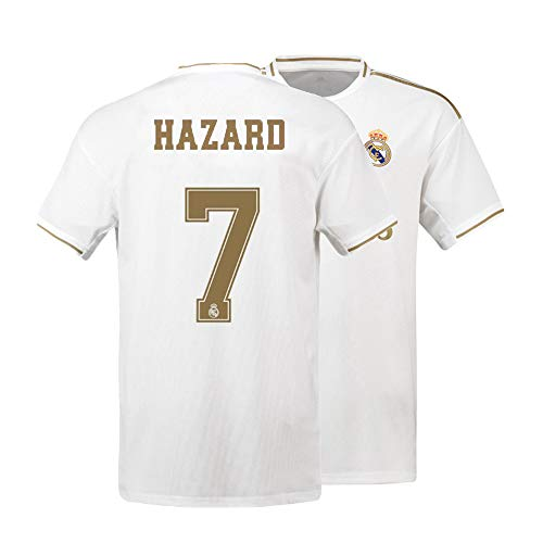Mens Hazard Jersey 7 Real Madrid 2019-2020 Adult Soccer Home Eden Sizes White (X-Large) (Mens Real Madrid Soccer Jersey)