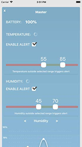 Moat Temperature & Humidity Wireless Smart Sensor for iPhone - iOS Thermometer/Hygrometer with alerts to Monitor The Ambient Climate in Your Nursery, Incubator, Fridge, and Any Other Room (2 Sensors) by Moat (Image #5)