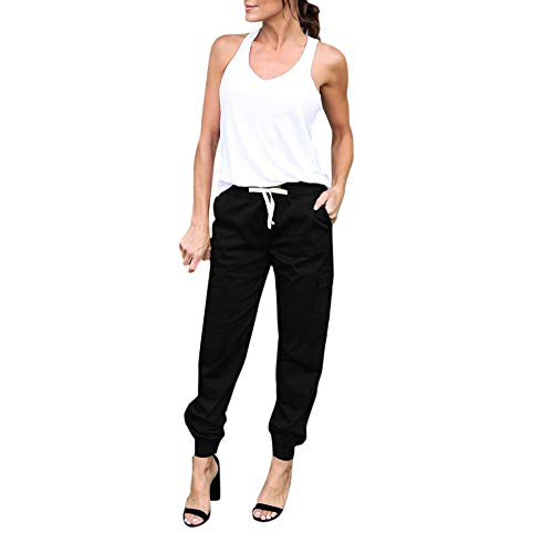(JOFOW Cargo Pants for Women Casual Solid Loose Military Long Cool Straight Leg High Waist Ankle Side Pockets Chic Trousers (M,Black))