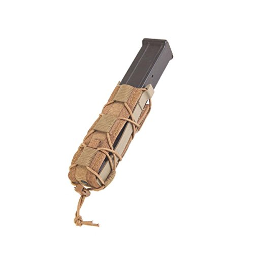 (Belt Mounted Extended Pistol TACO hold pistol caliber sub gun mags, batons, larger lights Pouch Coyote)