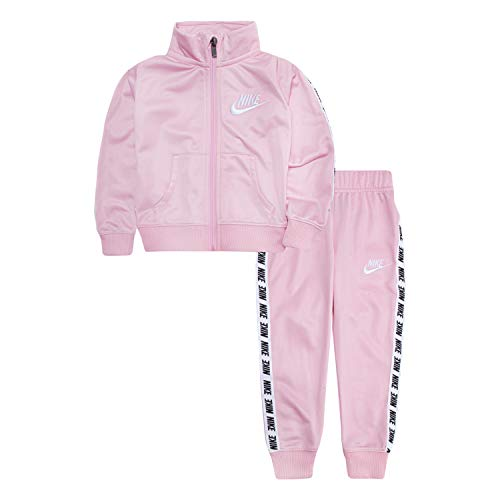 Nike Baby Girls Tricot Track Suit 2-Piece Outfit Set, Pink/White, 9M (Track Outfits)