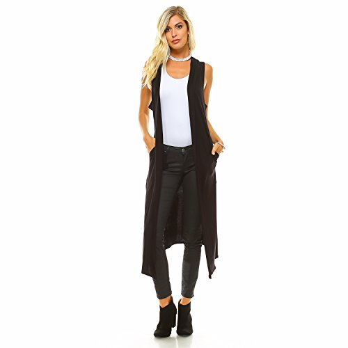 Sleeveless Long Vest (Isaac Liev Women's Long Open Front Cardigan Vest With Pockets and Side Slit (Large, Black))