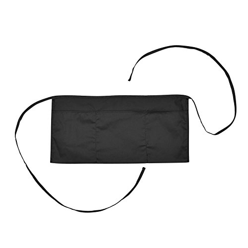 Waist Aprons Commercial Restaurant Home Bib Spun Poly Cotton Kitchen (3 Pockets) in Black ()