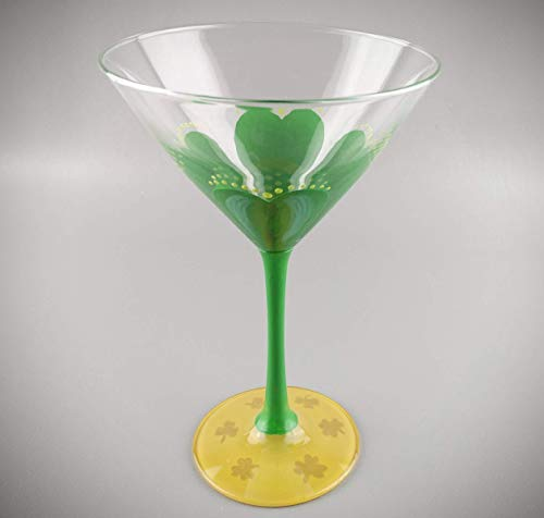 St. Patrick's Day Martini Glass - Hand Painted - Clover and Gold, St. Patty's Day Themed