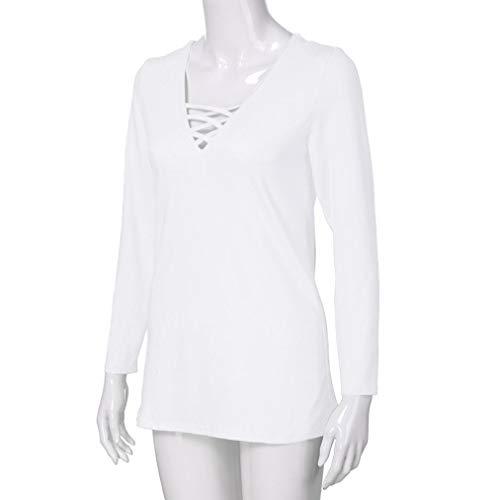 Taille Blanc Casual Chemisier Femme Shirt Grande T Sexy Chic Manche Blouse LGante Unie Couleur Longue Lacer Tops wqxaIf
