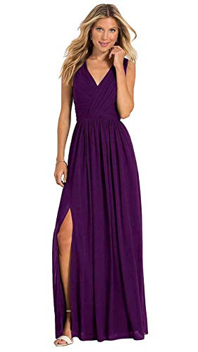 (yinyyinhs Women's V Neck Ruched Bodice A Line Slit Chiffon Bridesmaid Dress Long Evening Prom Dresses Size 18 Plum)