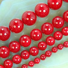 Red Shell Pearl Round Beads 16