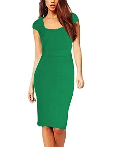 Senfloco Office Lady Square Neck Cap Sleeve Career Vintage Bodycon Dress