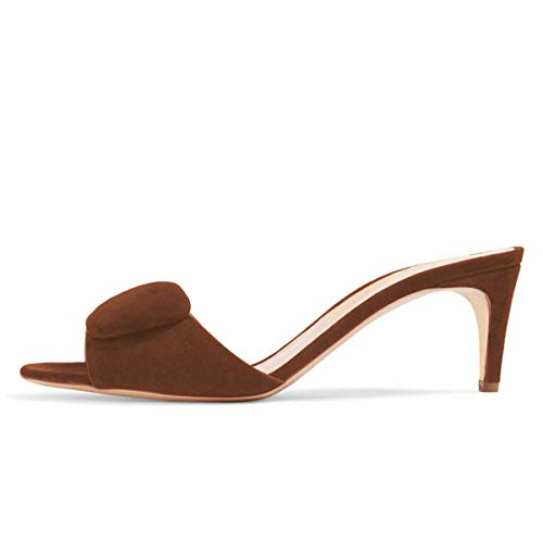 FSJ Women Casual Peep Toe Thin Mid Heels Backless Summer Sandals Slide On Mules Shoes Size 8.5 Brown-Suede