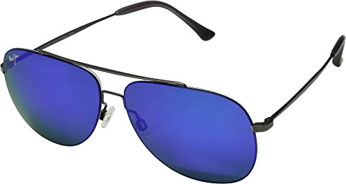 Maui Jim Cinder Cone B789-02S | Polarized Satin Dark Gunmetal Aviator Frame Sunglasses, Blue Hawaii Lenses, with Patented PolarizedPlus2 Lens Technology ()