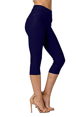 - Premium Jeggings - Denim Leggings - Full and Capri Length - Regular and Plus Sizes (Small/Medium, Capri Denim Blue)