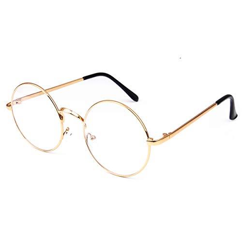 Dollger Retro Round Glasses Clear Lens Metal Frame UV400 Protection for Men Women Gold