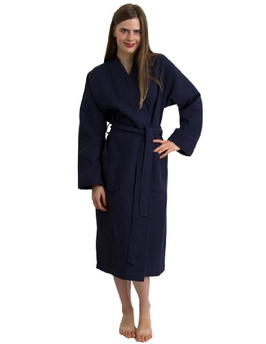 TowelSelections Turkish Bathrobe Waffle Kimono Robe for Women and Men Medium/Large Navy
