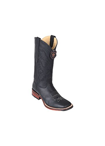 Leather Toe Skin Men's Square Wide Grisley Western Los Boots Black Genuine Altos IRq4YY