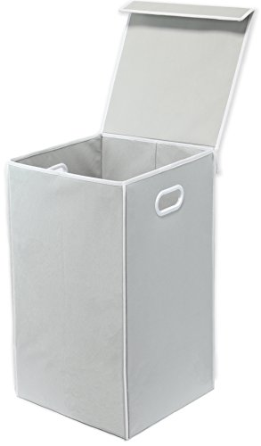 Simple Houseware Foldable Laundry Hamper Basket with Lid, Grey (Hamper White)