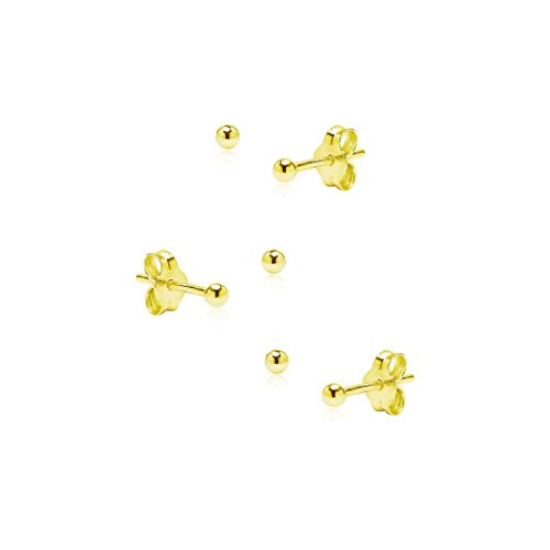 (3 Pair Set Sterling Silver 2mm Tiny ball Bead Stud Earrings, Stud Earrings Set Hypoallergenic Unisex Cartilage Yellow Gold Flashed Finish)