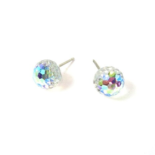 Aurore Boreale Faceted Ball Finest Austrian Crystal Earrings, - Crystal Earrings Faceted