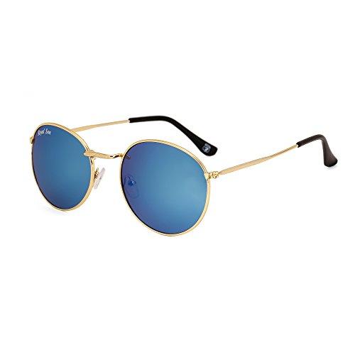 Royal Son UV Protected Round Sunglasses For Men And Women (RS0018AV|51|Blue Mirrored Lens)