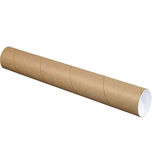 "BOX USA BP3015K Mailing Tubes with Caps, 3"" x 15"", Kraft (Pack of 24)"