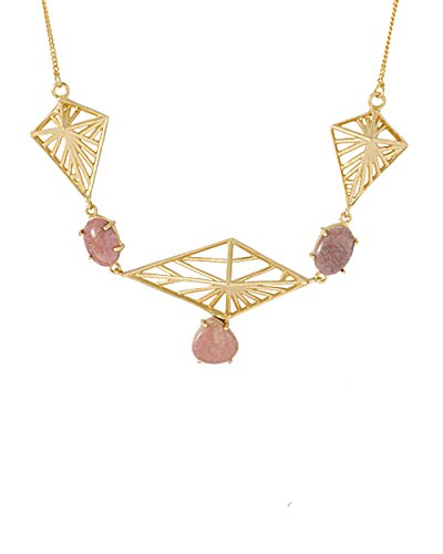 Voylla Women's Gold Toned Statement Necklace Adorned With Pink Stones by Voylla
