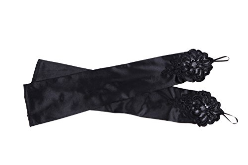 1920s Gloves (Clothin Women's Embroidered Fingerless Hook Glove/ Bridal Lace & Sequins Satin Gloves For Wedding Evening Party Accessories,Black ,One size)