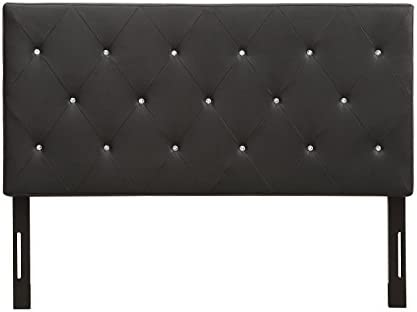 AC Pacific Modern Queen Size Faux Leather Upholstered Tufted Headboard With Crystal Diamond Tufting, Queen Size, Black