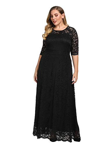 Chicwe Women's Plus Size Stretch Lined Scalloped Lace Maxi Dress – Evening Wedding Party Cocktail Dress Black 2X