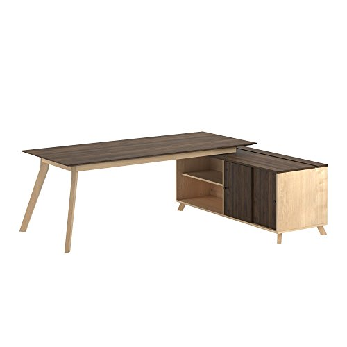Ameriwood Home 9291096COM AX1 L Shaped Office Desk, (Solid Walnut Desk)