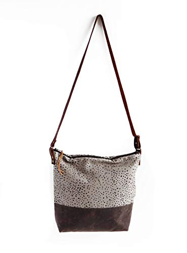 Modern Folk Grey Waxed Canvas Crossbody Bag