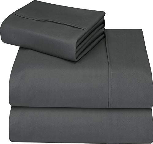 Utopia Bedding Soft Brushed Microfiber Wrinkle Fade and Stain Resistant 4-Piece Full Bed Sheet Set - Grey