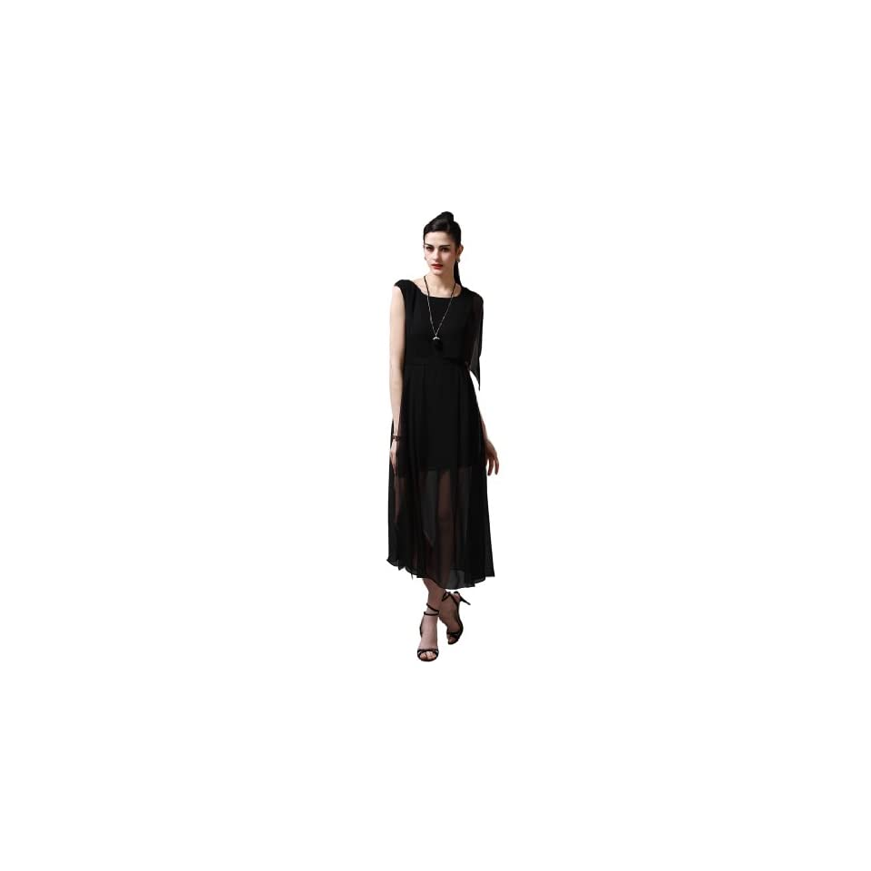 Maxchic Womens Asymmetrical Sleeve Semi See through Silk Maxi Dress C08134G13M,Black,Large