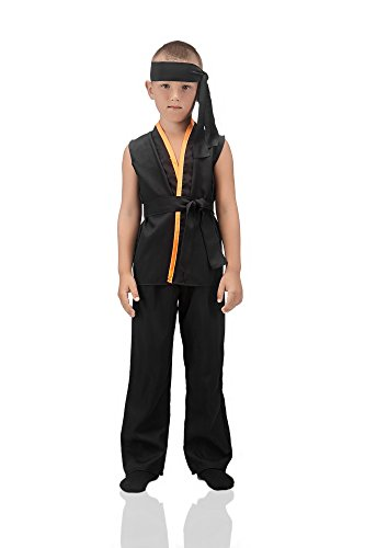 Kids Boys Karate Kid Costume Black Belt Martial Arts Master Shaolin Kung Fu Outfit (8-11 years, Black)