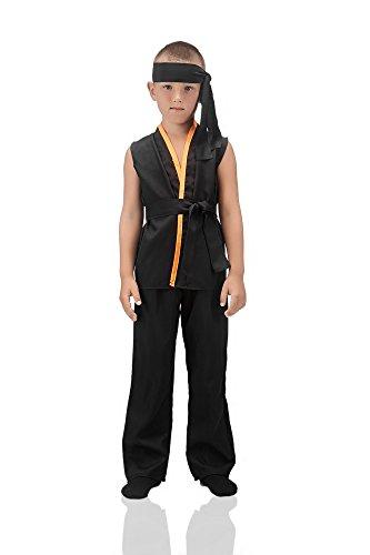 Kids Boys Karate Kid Costume Black Belt Martial Arts Master Shaolin Kung Fu Outfit (8-11 years, (Sensei Halloween Costume)