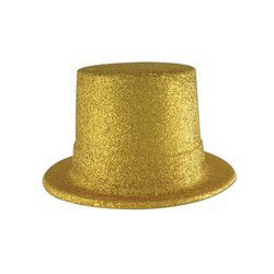 (Glittered Top Hat (gold) Party Accessory (1 count) )