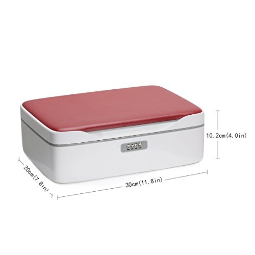 FINE DRAGON Professional Girly Make Up Cosmetic Jewelry Train Case Storage Box with Compartments and Lock (Red) by FINE DRAGON (Image #6)