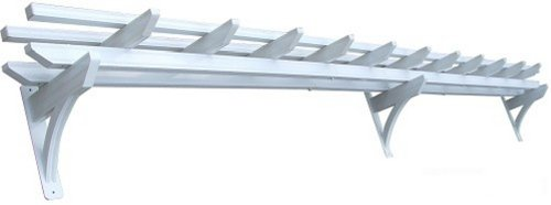 DC America WAPG118 18-Foot Wall Pergola with Rust Free Aluminum, Powder Coat White Finish