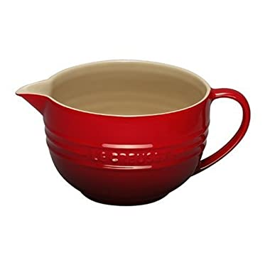 Le Creuset Stoneware 2-Quart Batter Bowl, Cerise (Cherry Red)
